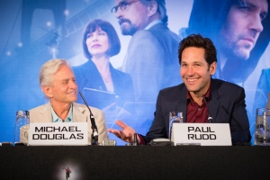 "London UK – JULY  7:  Actor Michael Douglas and Paul Rudd at the press conference for Marvel's ""Ant-Man"" in London on July 7, 2015 (Credit: James Gillham / StingMedia.co.uk)"