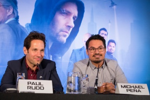 "London UK – JULY  7:  Actors Paul Rudd and Michael Pena at the press conference for Marvel's ""Ant-Man"" in London on July 7, 2015 (Credit: James Gillham / StingMedia.co.uk)"