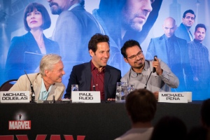 "London UK – JULY  7:  Actors Michael Douglas, Paul Rudd and Michael Pena at the press conference for Marvel's ""Ant-Man"" in London on July 7, 2015 (Credit: James Gillham / StingMedia.co.uk)"