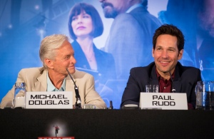 """London UK – JULY  7:  Actor Michael Douglas and Paul Rudd at the press conference for Marvel's """"Ant-Man"""" in London on July 7, 2015 (Credit: James Gillham / StingMedia.co.uk)"""