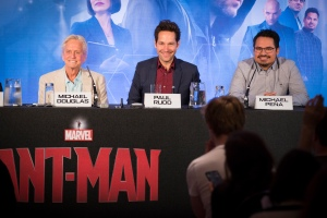 """London UK – JULY  7:  Actors Michael Douglas, Paul Rudd and Michael Pena at the press conference for Marvel's """"Ant-Man"""" in London on July 7, 2015 (Credit: James Gillham / StingMedia.co.uk)"""