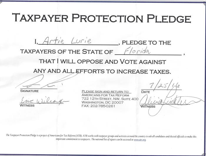 Taxpayer protection pledge-lurie