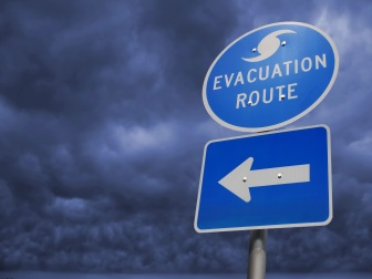 Hurricane Storm Evacuation Route Sign