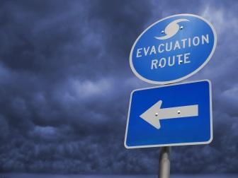Hurricane Storm Evacuation Route Sign