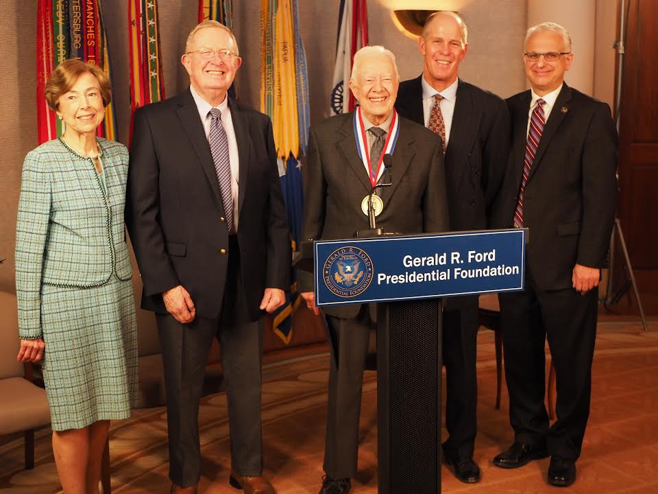 PRESIDENT JIMMY CARTER RECEIVES THE GERALD R. FORD MEDAL FOR DISTINGUISHED PUBLIC SERVICE