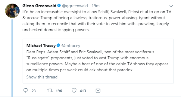 Glenn Greenwald on Twitter   Oh  and finally  it seems rather odd  to put that mildly  to simultaneously insist that Trump is a traitorous agent or enslaved tool of an a… https   t co Q1V8why6f4 .png